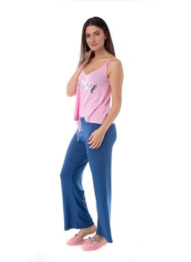 Pamuk & Pamuk Baskılı Düz Renk Atlet Kadın Pijama Takım Renkli